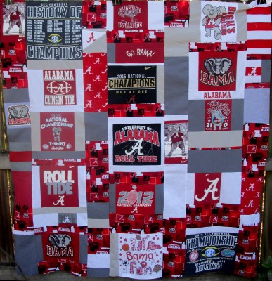 University of Alabama Crimson Tide t-shirt quilt