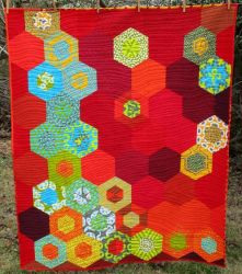 Brightly colored science lap quilt