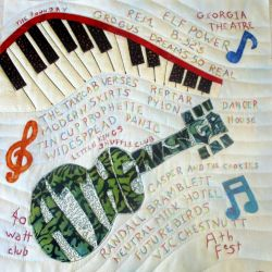 quilt with athens GA music band names and musical instruments